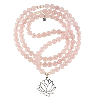 rose quartz mala necklace
