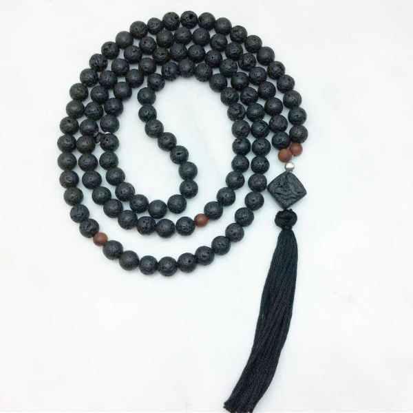 black lava mala beads