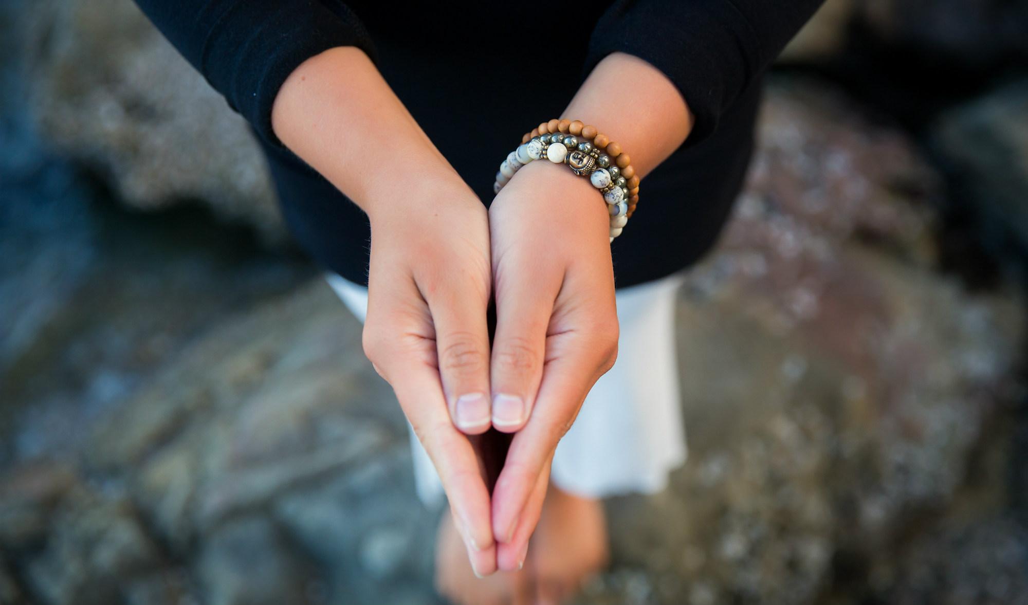 opal mala bracelet stack