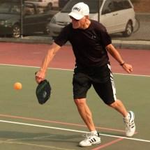 Robin playing the ball :: Salt Spring Island Pickleball Association
