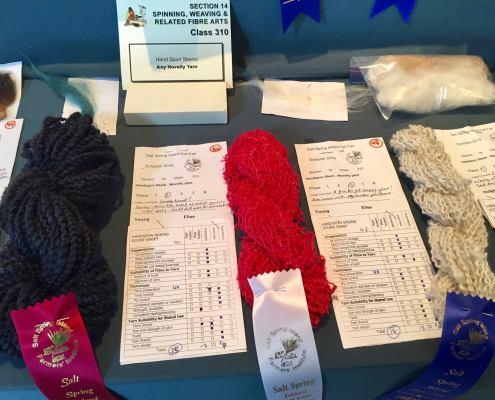 Handspun skein using novelty yarn by various artists