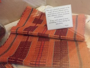 Rep weave placemats at the library display November 2020