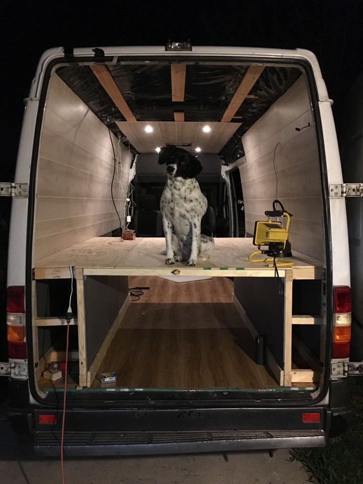 sprinter van conversion lighting and walls