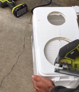 Cutting holes with a saws all for diy travel Air Conditioner unit