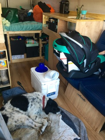 Happy sleeping puppy with DIY travel Air Conditioner