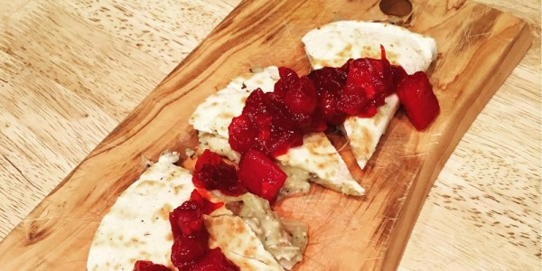 Holiday leftovers quesadilla with cranberry sauce