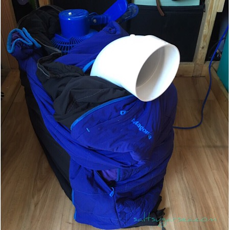 Diy Travel Air Conditioner insulated with Patagonia jackets