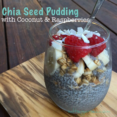 Overnight chia seed pudding layered with Coconut and raspberries