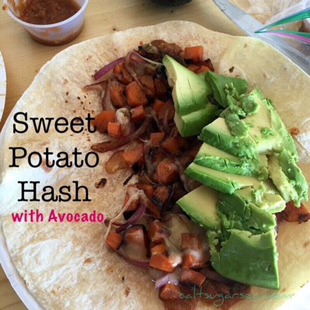 Camping recipe Sweet potato hash with Avocado and red onions
