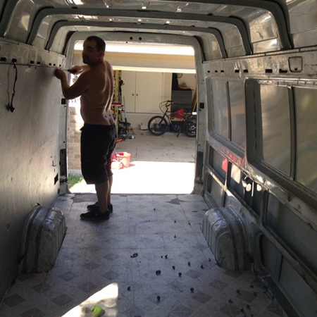 Van conversion demo interior walls