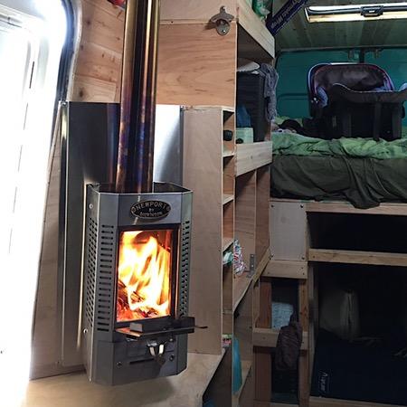 Wood stove in van