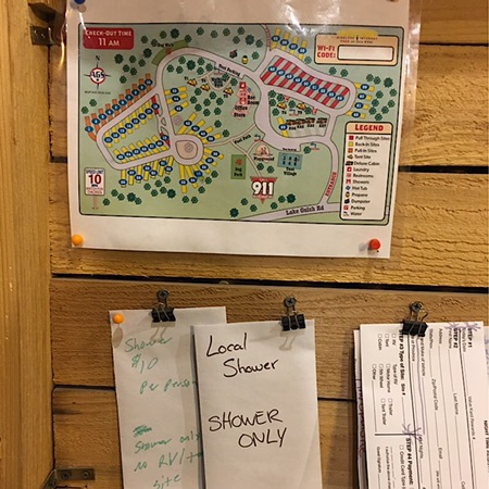 KOA night time check- in campground map