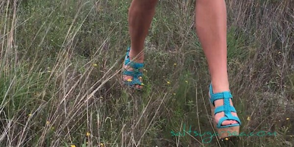Simple life birthday hiking in blue high heels