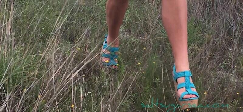 Simple life birthday hiking in blue high heels