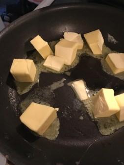 1) Melt butter on low head