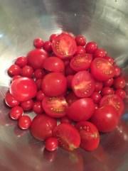 1) Cut tomato if large
