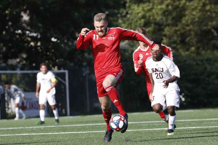 The Memorial Sea-Hawks men's soccer team is looking for a couple of wins against the visiting Dalhousie Tigers in their final regular-season games of the 2019 AUS season this evening and Saturday afternoon at King George V Park. To get victories, a team has to score goals and that means the Sea-Hawks will be counting on the likes of Kyle Williams, shown in action against the Saint Mary's Huskies early this season at KGV. The Memorial men have registered 14 goals this season and Williams has six of them. — Memorial Athletics photo/Allison Wragg