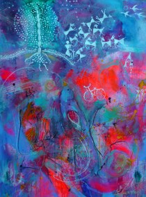 Upside Down by Suzanne Edminster Saltworkstudio acrylic on canvas