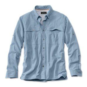 fly-fishing casting shirt sky blue
