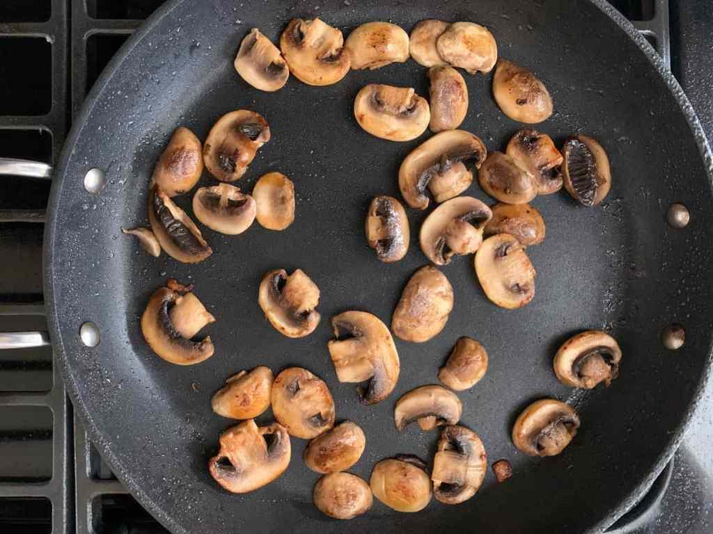 browned mushrooms in a saute pan