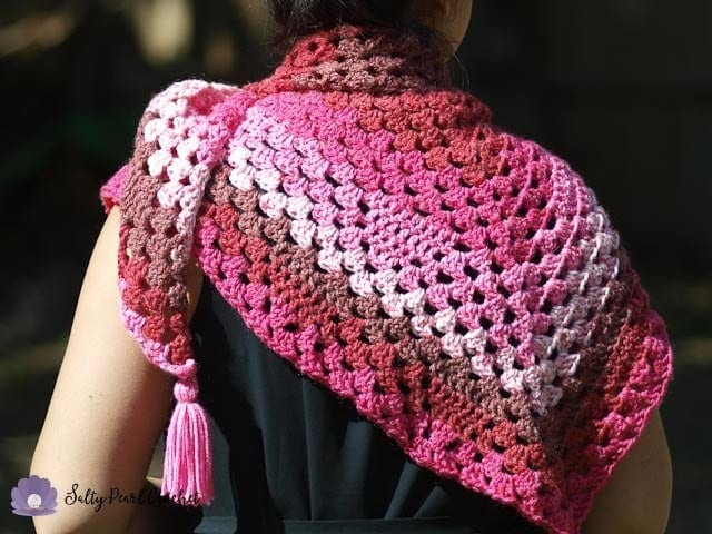 Bless Your Heart Granny Triangle Shawl Pattern • Salty Pearl Crochet