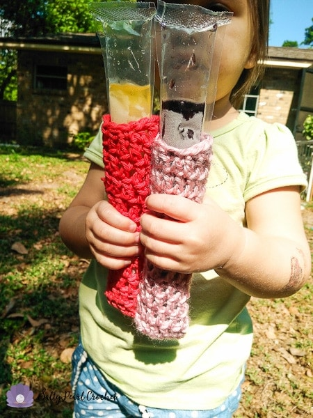 These quick and easy crocheted ice pop socks keep little fingers clean, warm, and dry!
