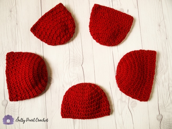 Five of the Apple Crisp Crochet Hats I made for Little Hats Big Hearts this year.