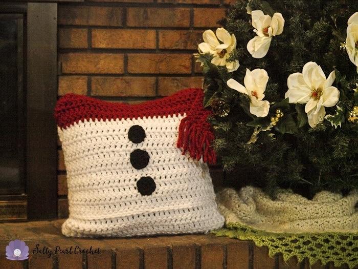 Snowman Pillow Sham Salty Pearl Crochet