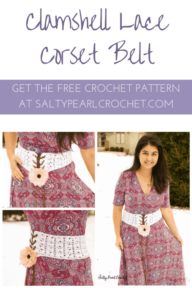 Find the Free Crochet Pattern for this gorgeous Clamshell Lace Corset Belt at SaltyPearlCrochet.com!