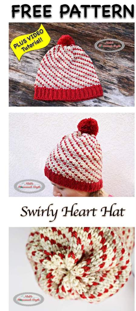 Swirly Heart Hat - Free Valentine Crochet Pattern Collection compiled by Salty Pearl Crochet
