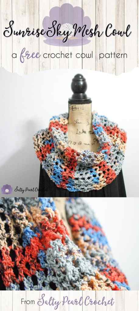 Crochet Summer Scarf Free Pattern The Sunrise Sky Mesh Cowl Salty