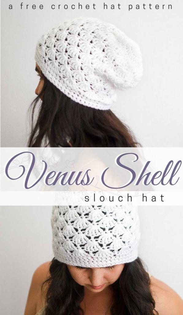 668c25fcc17 Venus Shell Slouch Hat Crochet Pattern - Free Crochet Beanie Pattern ...