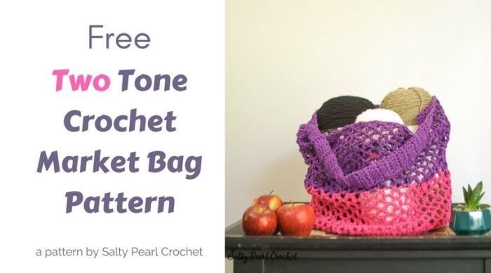 Two Tone Mesh Crochet Market Bag Pattern Salty Pearl Crochet Unique Crochet Mesh Market Bag Pattern