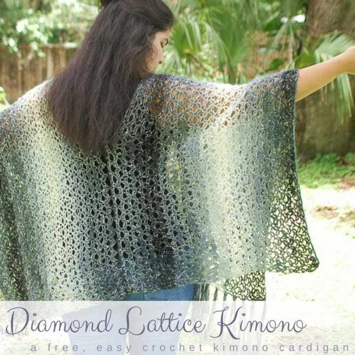 Diamond Lattice Crochet Kimono Pattern Free Salty Pearl Crochet