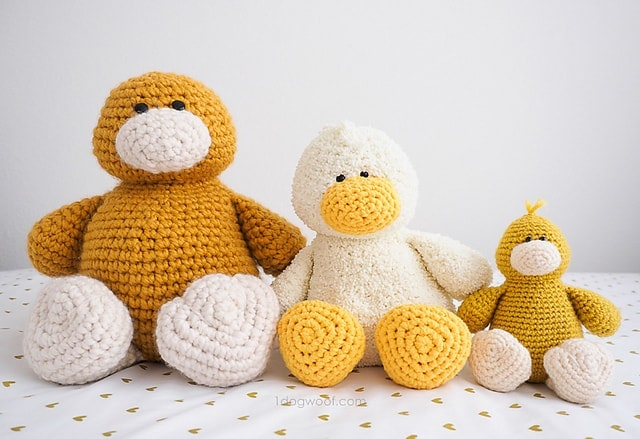 Three crochet duck amigurumi baby toys