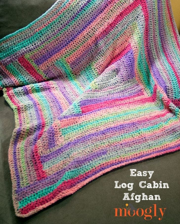 This crochet afghan pattern is super easy and mimics a log cabin quilt.