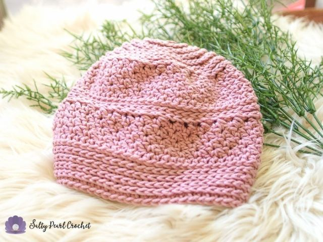Full view of a pink hat made from Linda's Easy Crochet Chemo Cap Pattern