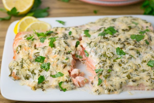 Baked Salmon with Herbed Mayo