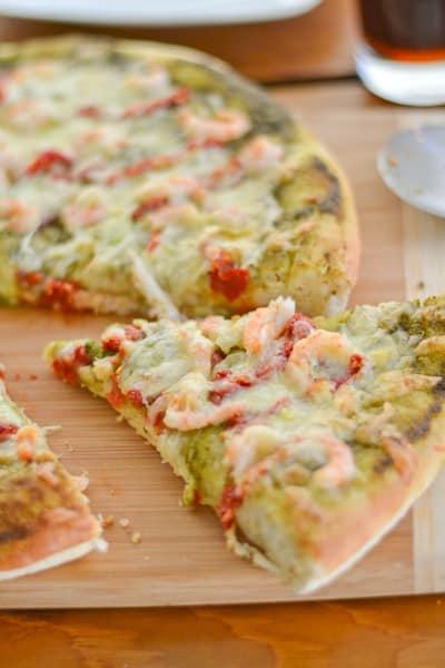 Pesto Pizza with Shrimp and Sun Dried Tomato