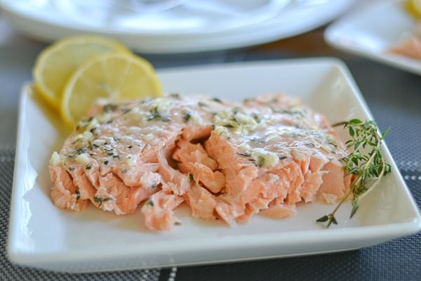 Oven Poached Salmon with Honey and Thyme