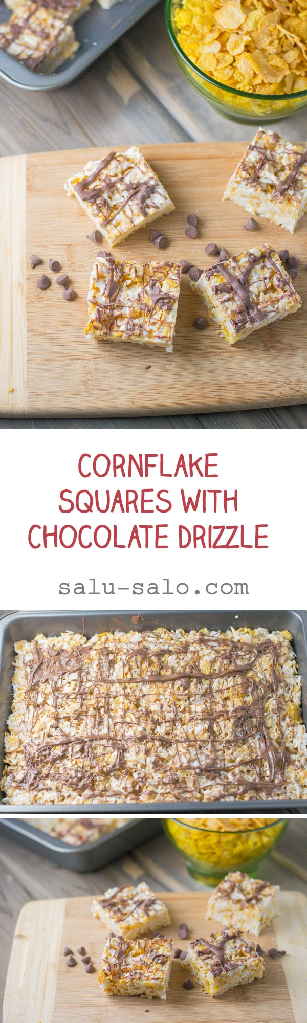 Cornflake Squares with Chocolate Drizzle