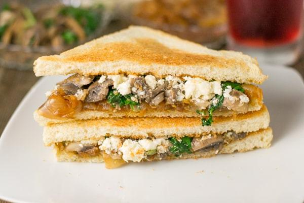 Caramelized Onion, Mushroom and Spinach Sandwich