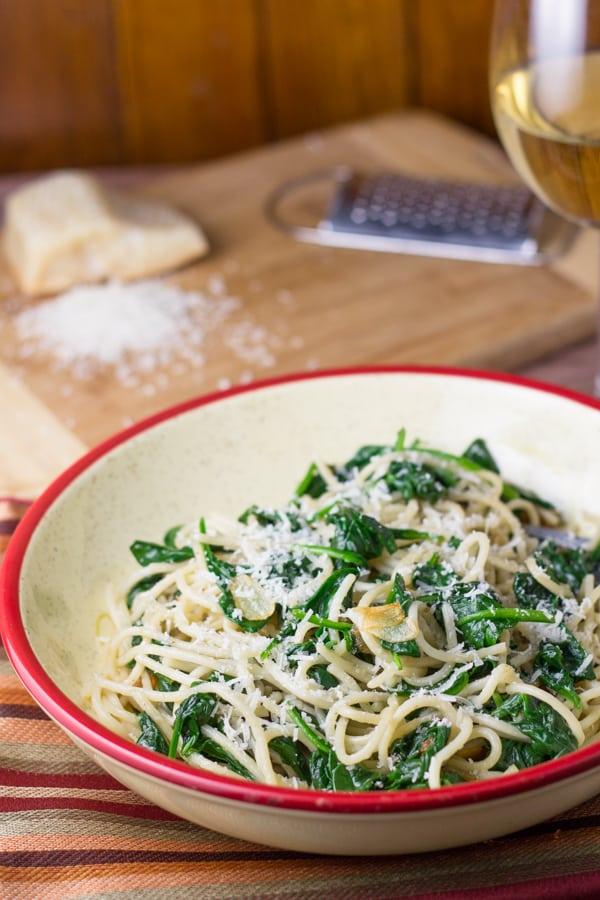 Garlic Spinach Spaghetti