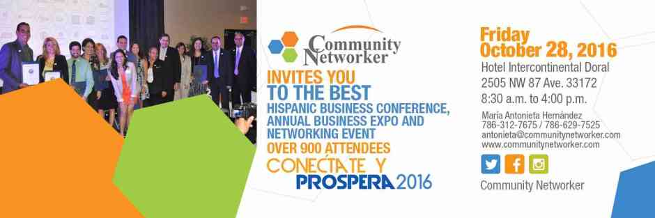 community networker conectate y prospera event english flyer