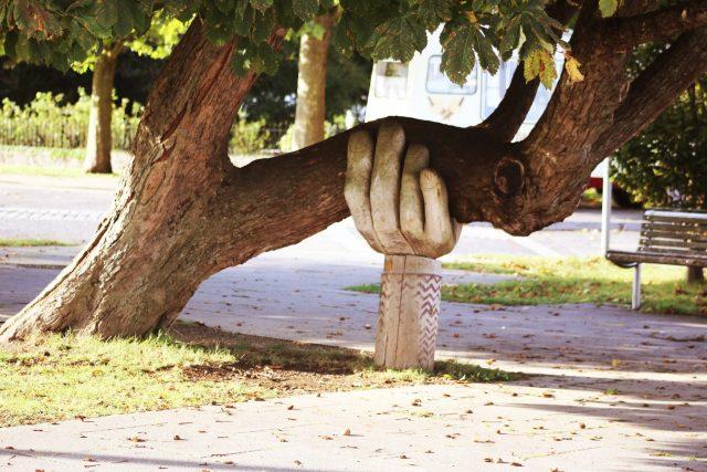 Estatua de un brazo soportando el peso de la rama de un árbol. Apoyo social en dolor crónico