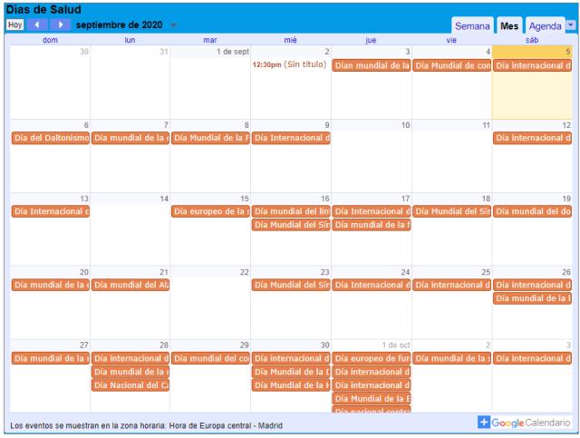 Pantallazo de Google Calendar con lso días de salud marcados en el mes de septiembre