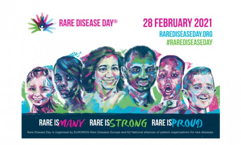 Poster del día mundial de las enfermedades raras. Varias personas dibujadas