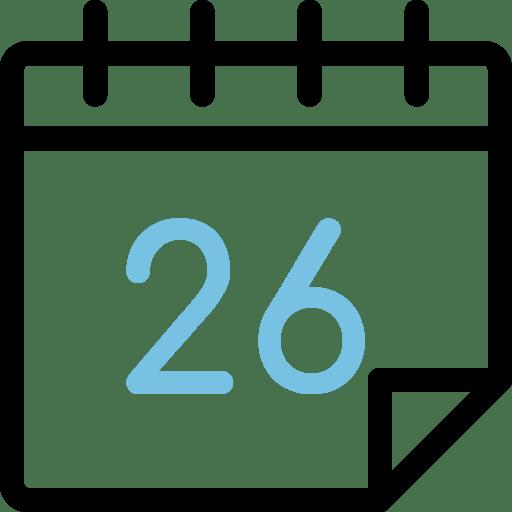 Calendario con el número 26
