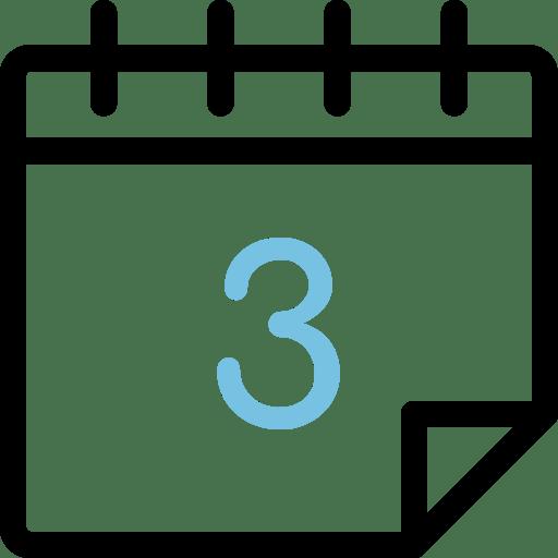 Calendario con el número 3