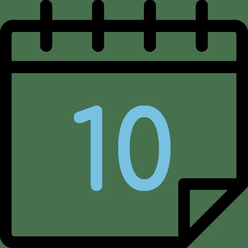 Calendario con el número 10